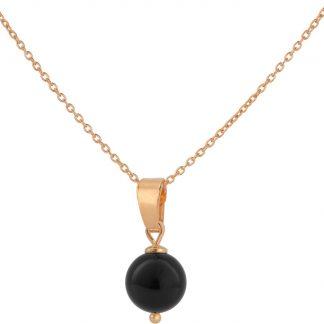 ARLIZI Ketting parel hanger zwart - roséverguld zilver - 1044