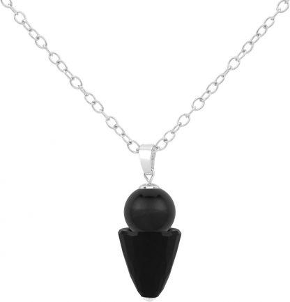 ARLIZI ketting Swarovski parel kristal hanger zwart - zilver - 1468