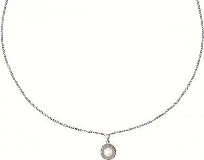 Diamonfire - Zilveren collier met hanger 45 cm - Bridal - Parel - Zirkonia - Rond