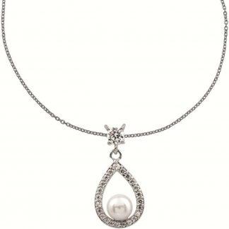 Diamonfire - Zilveren collier met hanger 45 cm - Bridal - Zirkonia - Parel - Druppel