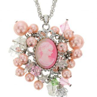Ketting zilverkleur met roze hanger en parels