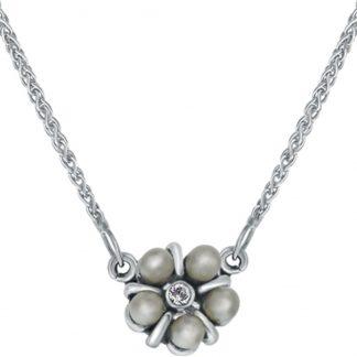 Lucardi - Vintage silver - Zilveren ketting parels en Swarovski Crystals