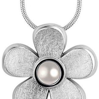 Silventi 932444047 - Zilveren Collier met Hanger - Bloem met Parel Stempel 25 mm - 42 cm - Zilverkleurig