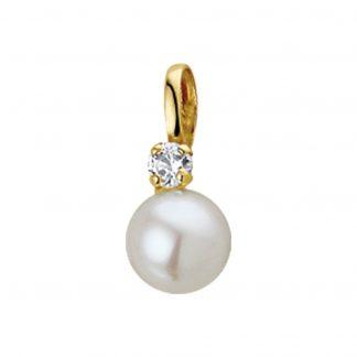 The Jewelry Collection Hanger Parel En Zirkonia 6 mm - Geelgoud (14 Krt.)