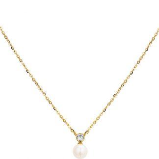 The Jewelry Collection Ketting Parel En Zirkonia 1,0 mm 41- 43 - 45 cm - Geelgoud