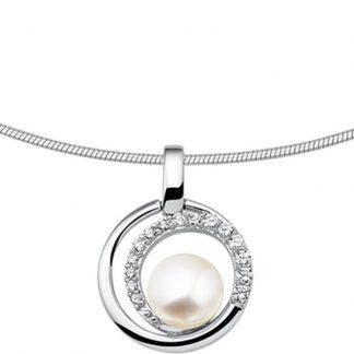 The Jewelry Collection Ketting Parel En Zirkonia 1,5 mm 42 + 3 cm - Zilver Gerhodineerd