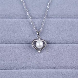 Zoetwaterparel ketting met zilver