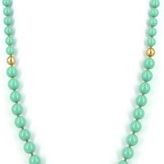Lange parelketting van Swarovski jade parels