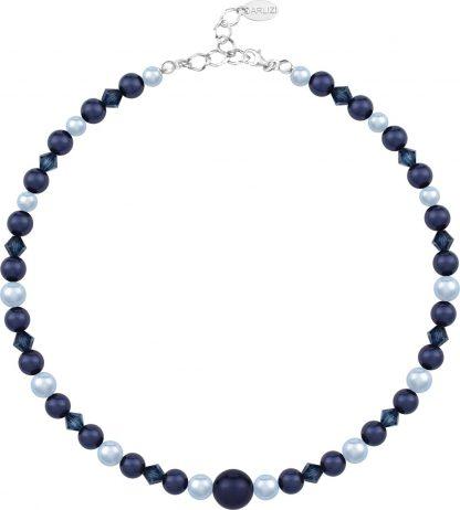 ARLIZI 1497 Parelketting Swarovski Kristal Parel - Dames - 925 Sterling Zilver - 43 cm - Blauw