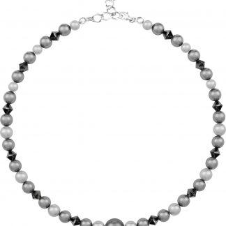 ARLIZI 1500 Parelketting Swarovski Kristal Parel - Dames - 925 Sterling Zilver - 43 cm - Grijs