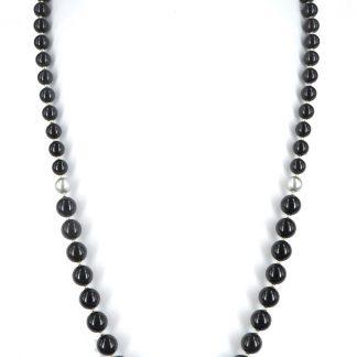 Lange parelketting 70cm van zwarte Swarovski parels