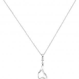 Lucardi - Zilveren ketting&hanger parel gedraaid