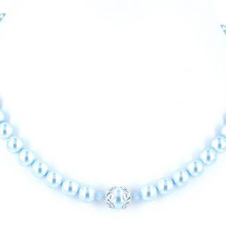 Parelketting licht blauw van Swarovski parels