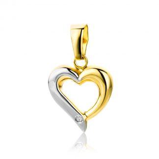 Majestine 18 karaat hart hanger- bicolor goud - 18 karaat (750) geelgoud en witgoud met briljant geslepen diamant