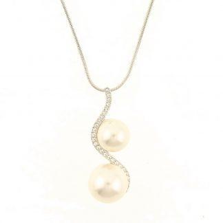 Behave® Dames ketting zilver-kleur met parels hanger 40 cm