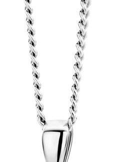 Majestine 925 zilveren ketting met zirkonia en parel hanger - collier 46 cm