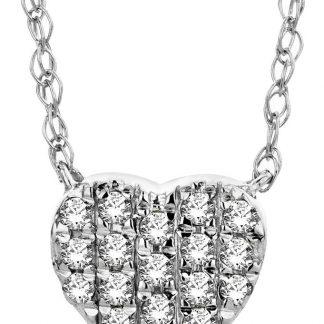 Majestine gouden hart diamant ketting - collier uit 18 karaat (750) witgoud met briljant geslepen diamanten