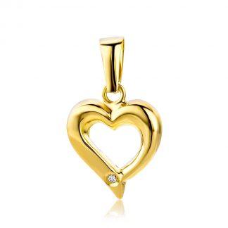 Majestine gouden hart hanger- 18 karaat (750) geelgoud met briljant geslepen diamant