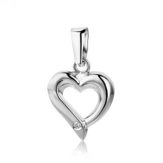Majestine gouden hart hanger- 18 karaat (750) witgoud met briljant geslepen diamant