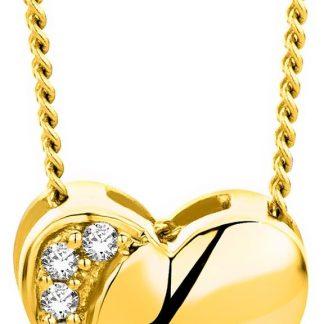 Majestine gouden hart ketting - collier uit 18 karaat (750) geelgoud met briljant geslepen diamant