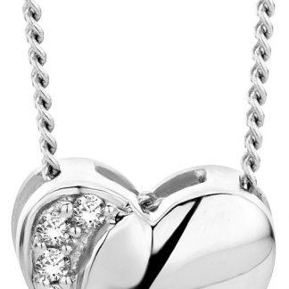 Majestine gouden hart ketting - collier uit 18 karaat (750) witgoud met briljant geslepen diamant