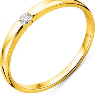 Majestine verlovingsring - 18 karaat 750 geelgoud met briljant gelepen diamant 0.05 caraat- maat 58
