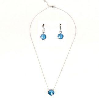 Sieradenset ketting en oorbellen - 12mm Swarovski rivoli - Azuur blauw