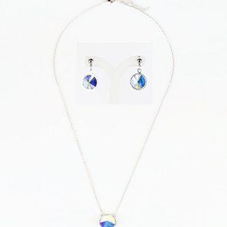 Sieradenset ketting en oorbellen - 12mm Swarovski rivoli - Crystal AB