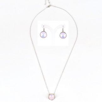 Sieradenset ketting en oorbellen - 12mm Swarovski rivoli - Moonlight Pink