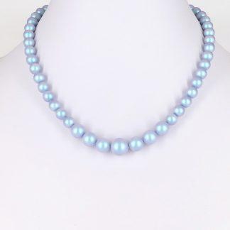 KAYEE - Parelkettting van Swarovski parels - licht Denim blauw - 45cm