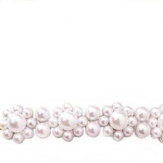 Lucardi - PINK - Goudkleurige haarclip met parels langwerpig
