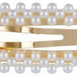 Lucardi - PINK - Goudkleurige haarclip met parels rechthoek