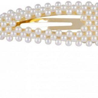 Lucardi - PINK - Goudkleurige haarclip met parels triangle