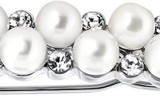 Lucardi - PINK - Zilverkleurig haar accessoire met parels