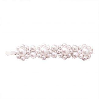 Lucardi - PINK - Zilverkleurige haarclip met parels langwerpig