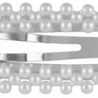 Lucardi - PINK - Zilverkleurige haarclip met parels rechthoek