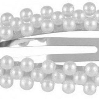 Lucardi - PINK - Zilverkleurige haarclip met parels triangle