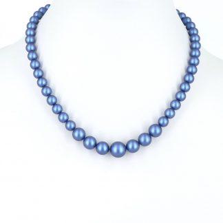 KAYEE - Parelketting van Swarovski parels - denim blauw - 45cm
