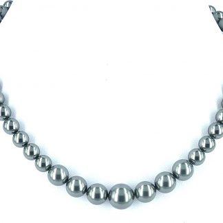 KAYEE - Parelketting van Swarovski parels - donkergrijs - 45cm