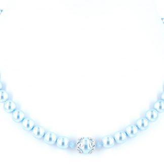 KAYEE - Parelketting van Swarovski parels - lichtblauw - 42cm