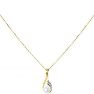 Lucardi - Diamond Luxury - 14 Karaat gouden ketting met hanger parel&diamant