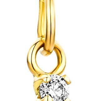 Majestine Kinder Halsketting 14 Karaat (585) Geelgoud met Parel en Diamant 0.04ct, ketting 40cm