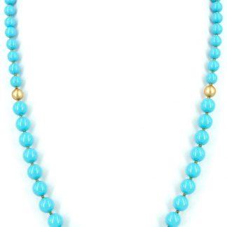 KAYEE - Lange parelketting van Swarovski parels - turquoise - 70cm