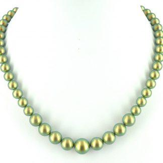 Parelketting groen/goudkleurig van Swarovski parels