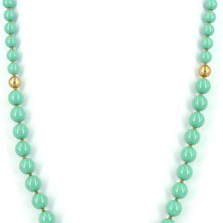 KAYEE - Lange parelketting van Swarovski parels - jadekleurig - 70cm