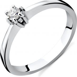 Majestine verlovingsring - 14 karaat 585 witgoud met briljant gelepen diamant 0.12 caraat- maat 50