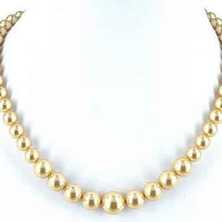 Parelketting helder goudkleurig van Swarovski parels
