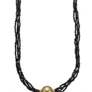 4-rijig collier Diemer Perle Zwart