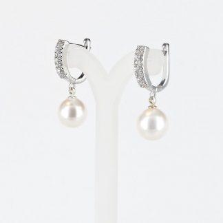 Parel oorbellen zilverkleurig met 10mm witte Swarovski parel