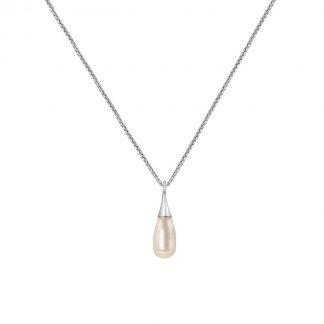 Lucardi Kettingen - Zilveren ketting met hanger parel